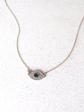 Silver Evil Eye Crystal on Silver Chain Necklace