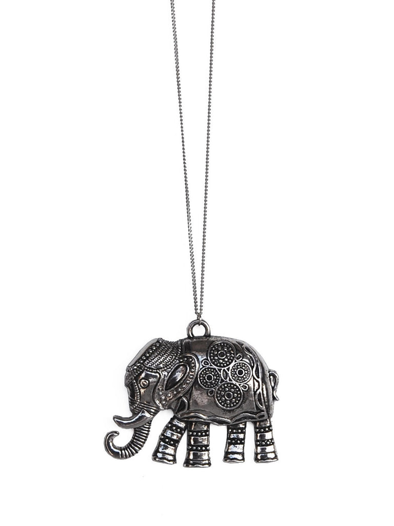 Silver elephant pendant necklace black tied silver elephant pendant necklace mozeypictures Image collections