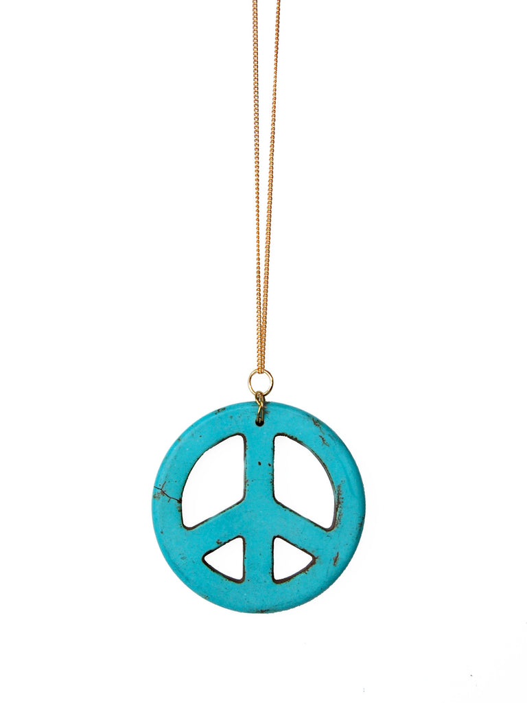 Turquoise Gemstone Peace Sign Necklace (Gold / Silver Chain)