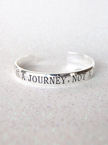 """Happiness Is A Journey, Not A Destination"" Silver Affirmation Cuff Bracelet"
