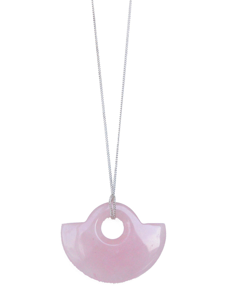 Pink Rose Quartz Half Donut Gemstone Necklace (Silver/Gold Chain)