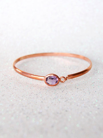Rose Gold and Amethyst Crystal Bangle Bracelet