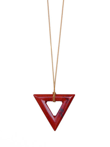 Red Poppy Jasper Gemstone Triangle Necklace (Silver / Gold Chain)