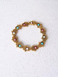 Gold Hamsa Bracelet with Turquoise, Pink and White Beads