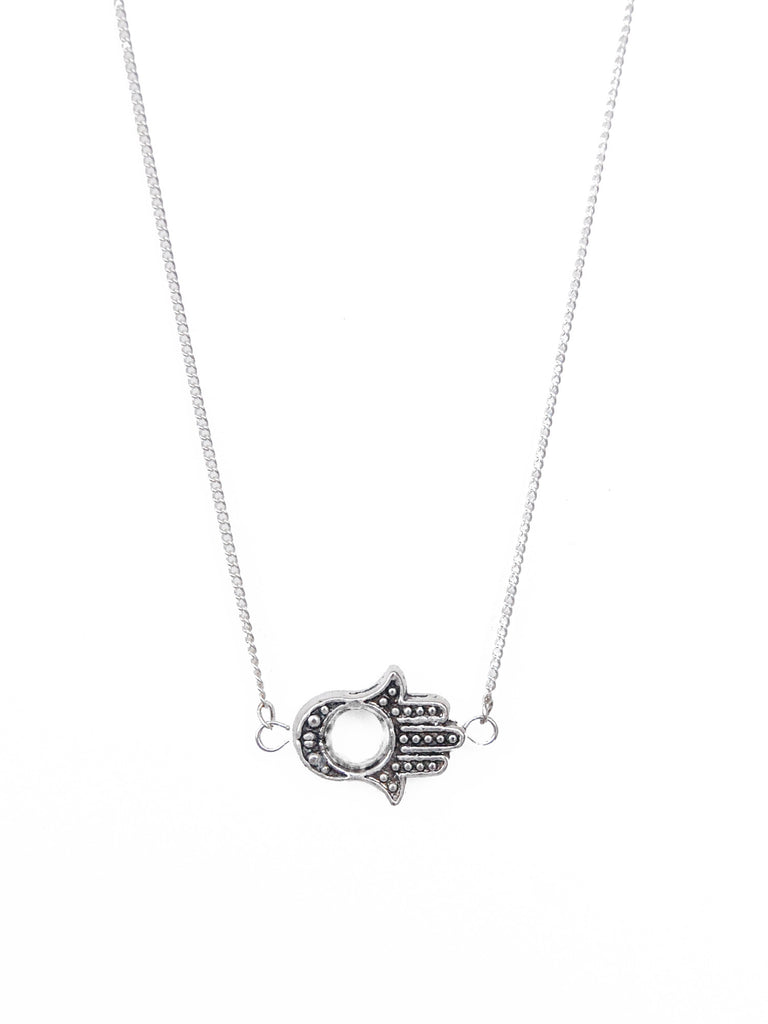 Silver Sideways Hamsa Hand Necklace