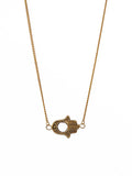 Gold Sideways Hamsa Hand Necklace