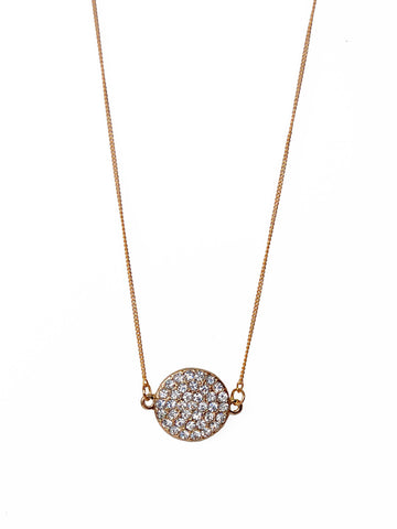 Gold Pave Disc Necklace