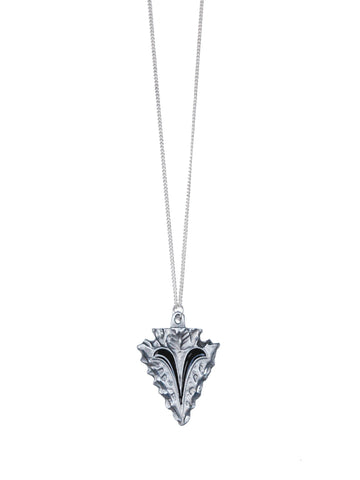 Silver and Black Arrowhead on Silver Chain Necklace