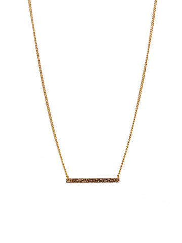 Textured 14k Gold Filled Bar on Gold Chain Necklace