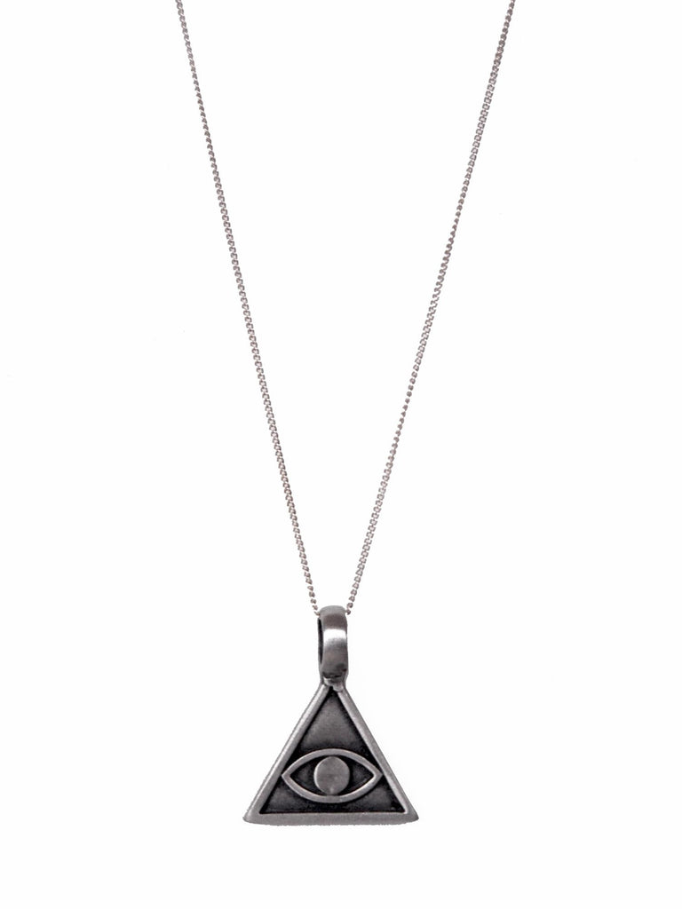 Silver Evil Eye Triangle Necklace