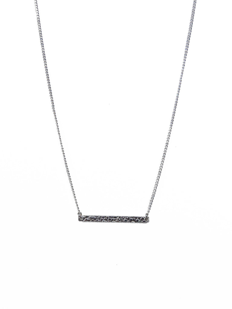 Textured Sterling Silver Bar on Silver Chain Necklace