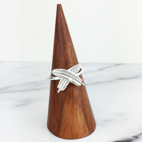 Silver Crossed Feathers Ring