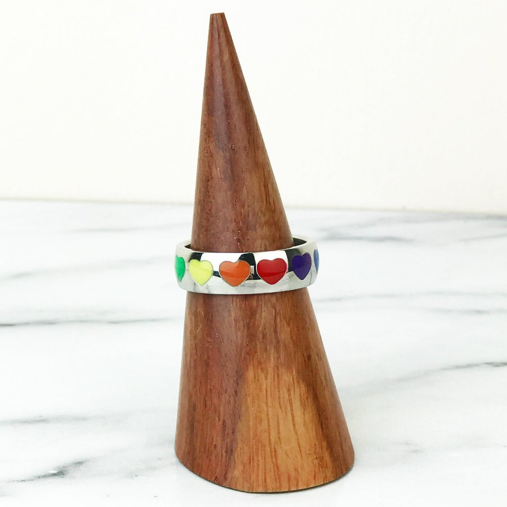 Rainbow Heart Silver Ring