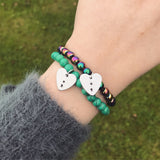Heart Charm Semicolon Bracelet [8 Bead Options]