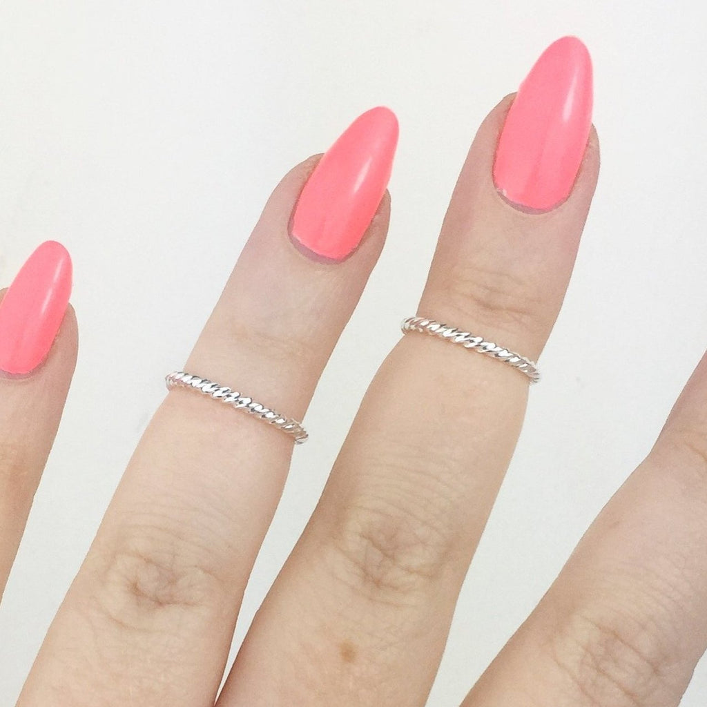 Silver Plated Twisted Above Knuckle Midi Rings (Set of Two)
