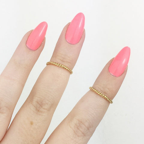 Gold Plated Twisted Above Knuckle Midi Rings (Set of Two)