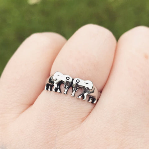 Double Elephant Sterling Silver Ring