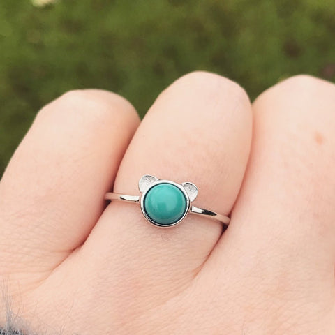 Turquoise Cat Ear Sterling Silver Ring