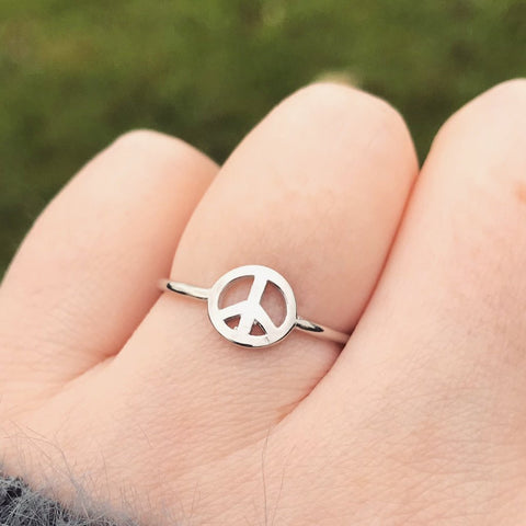 Peace Symbol Sterling Silver Ring
