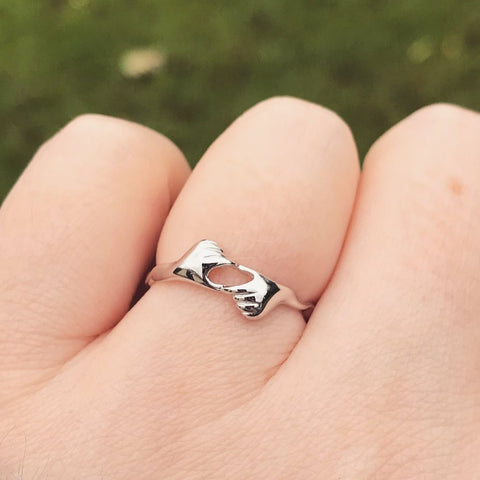Love Hands Sterling Silver Ring