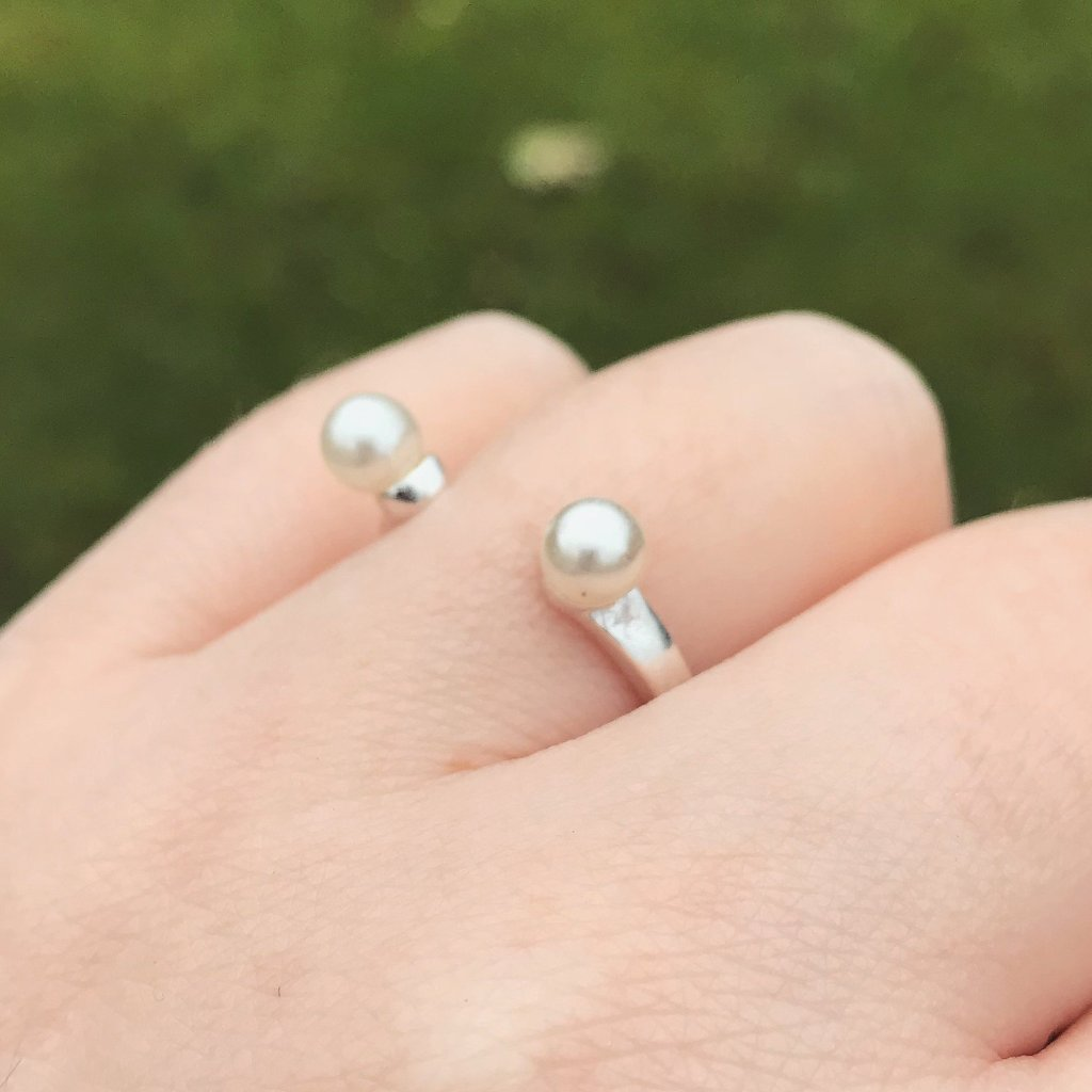 Double Pearl Open Sterling Silver Ring
