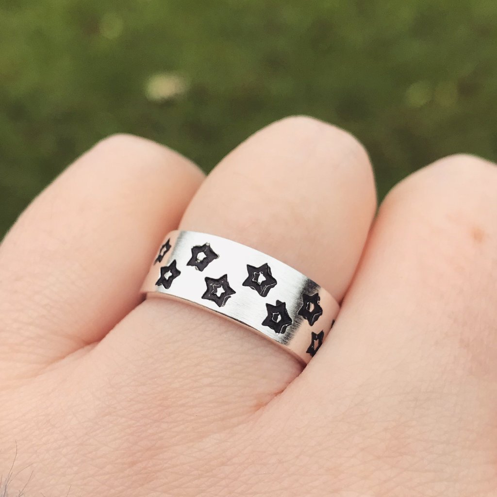 Multi Star Band Sterling Silver Ring