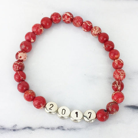 Red Gemstone and Silver Custom Bead Bracelet