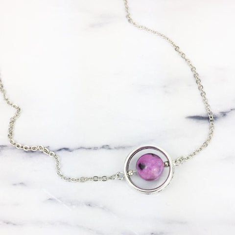 Floating Purple Gemstone Bead Necklace