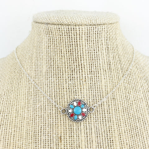 Silver Southwestern Disc Choker Necklace