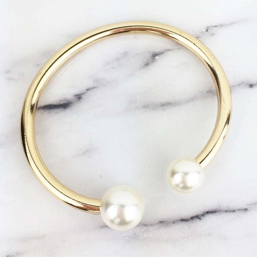 Gold and Pearl Cuff Bracelet