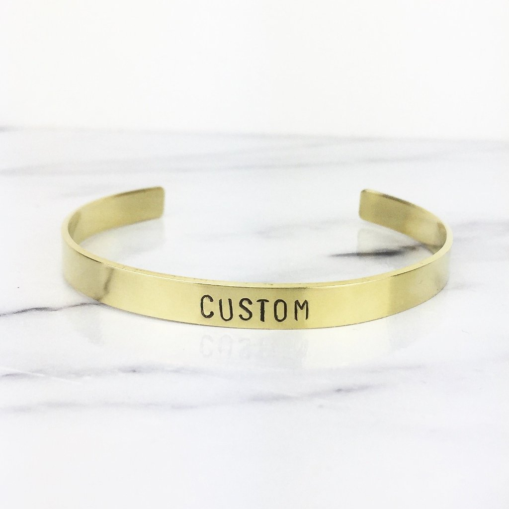 Thin Gold Custom Cuff Bracelet