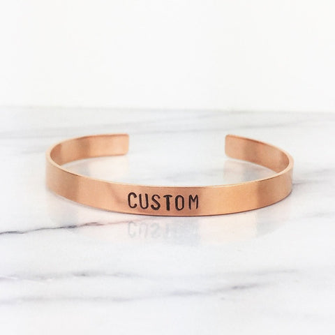Thin Copper Custom Cuff Bracelet