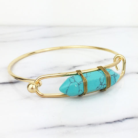 Gold Turquoise Arrowhead Bangle Bracelet