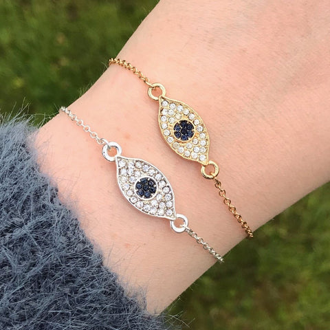 Gold Evil Eye Crystal Chain Bracelet