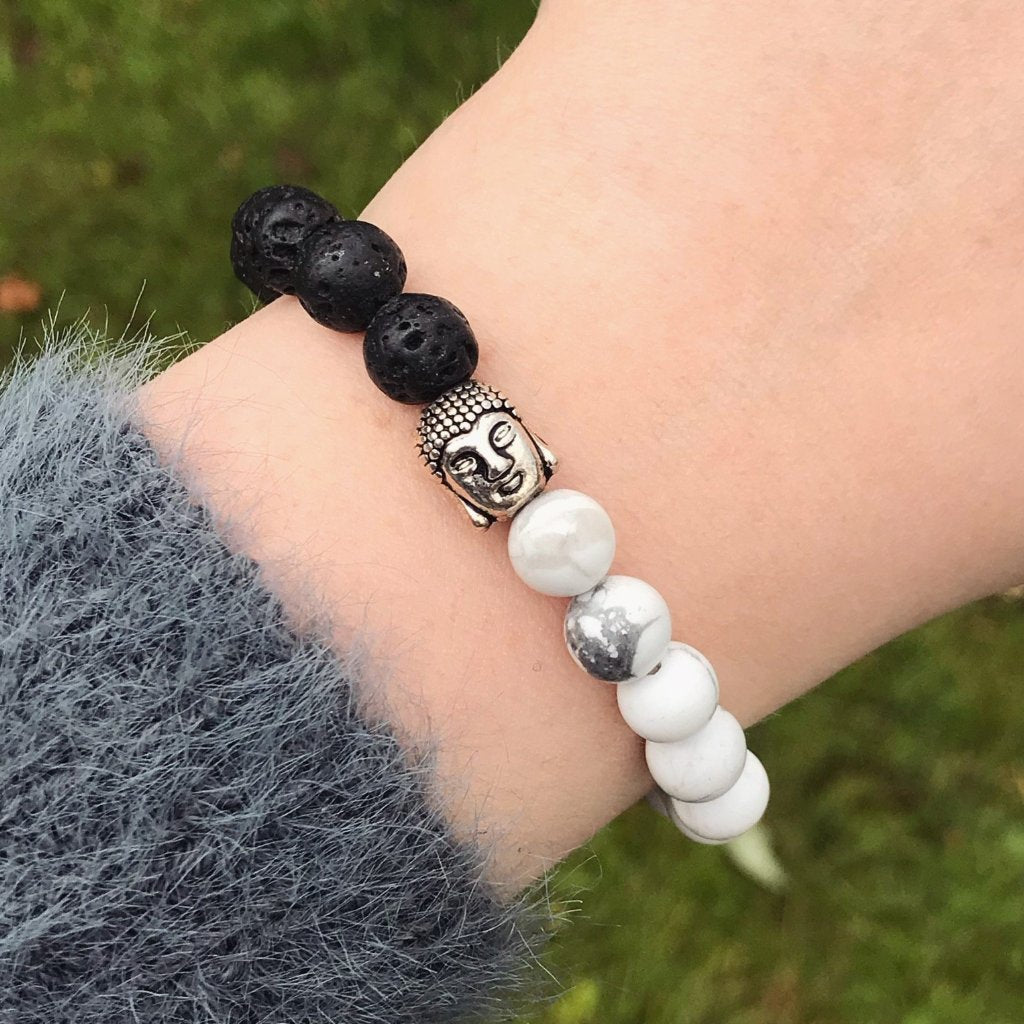 Silver Buddha with Black/White Bead Bracelet