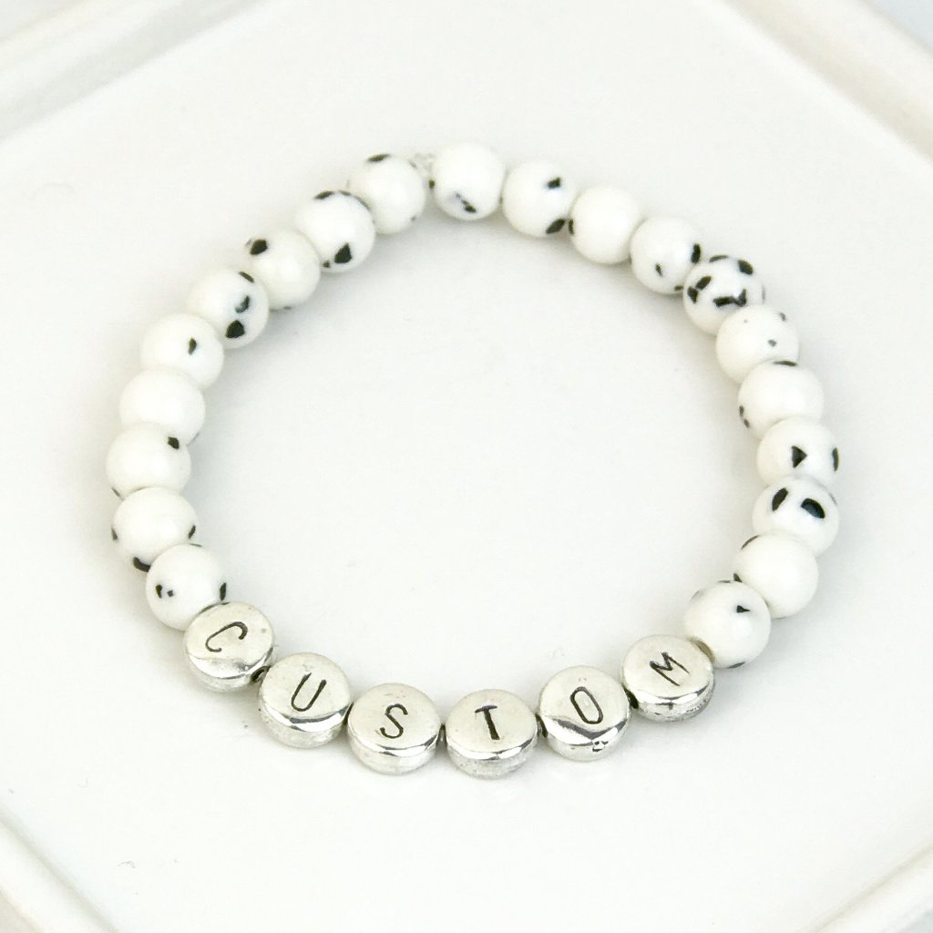 Dalmatian Gemstone and Silver Custom Bead Bracelet