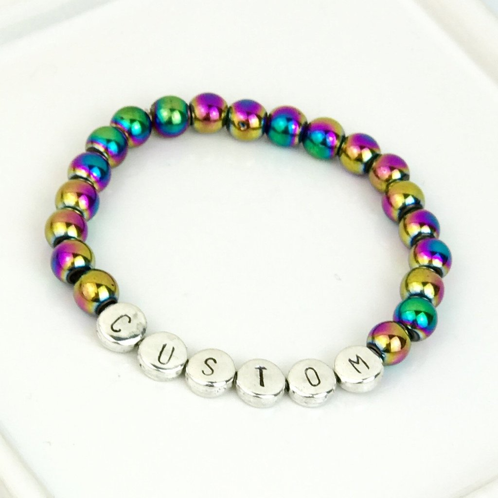 Rainbow Hematite Gemstone and Silver Custom Bead Bracelet