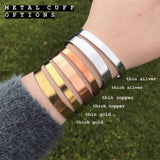 Feather Symbol Cuff Bracelet [Silver / Gold / Copper]