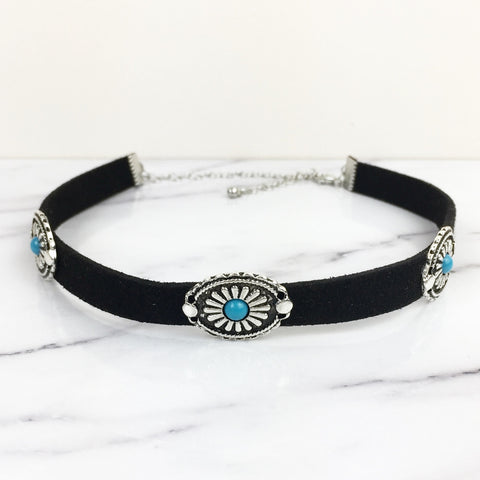 Black Velvet with Southwestern Disc Choker Necklace