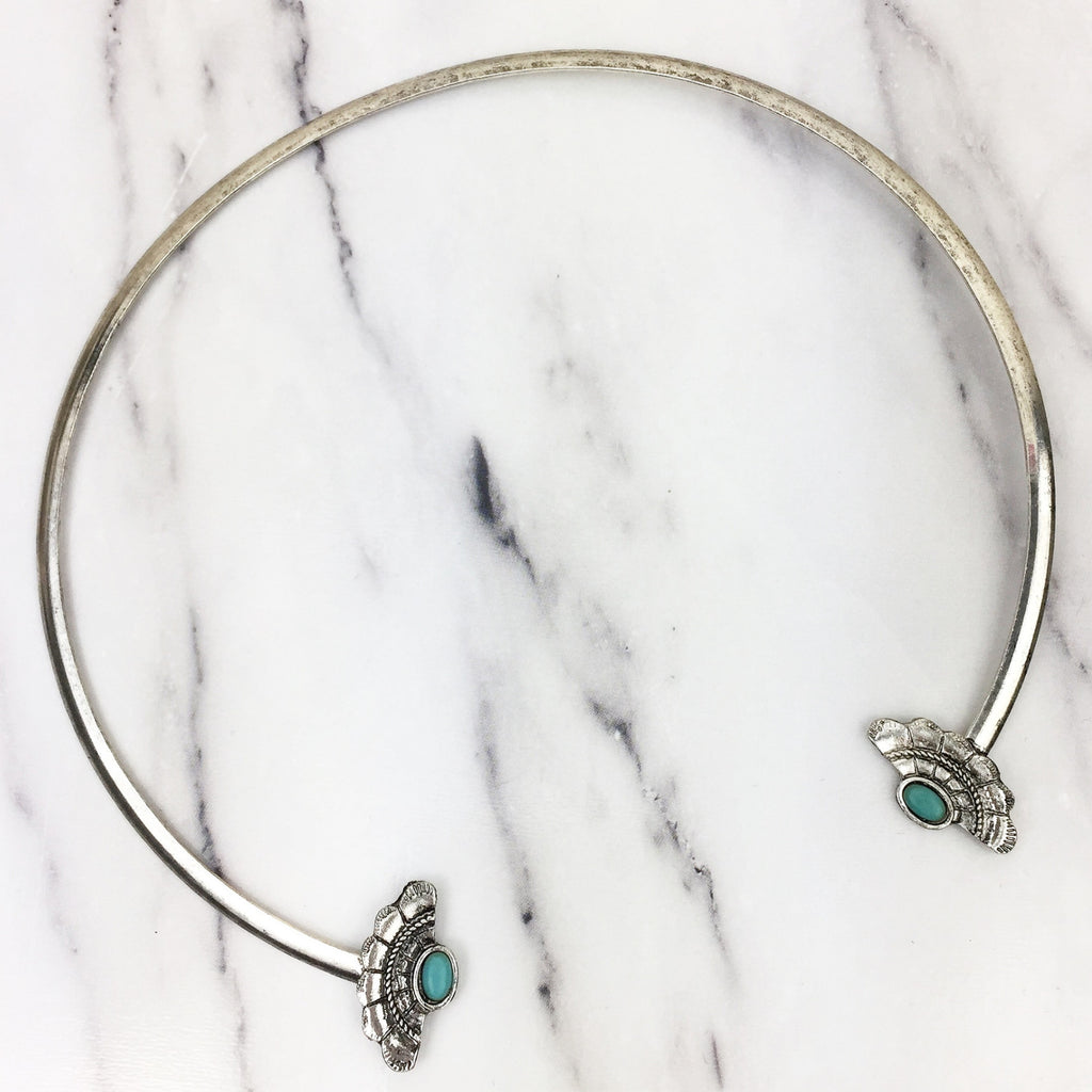 Silver Southwestern Collar Choker Necklace