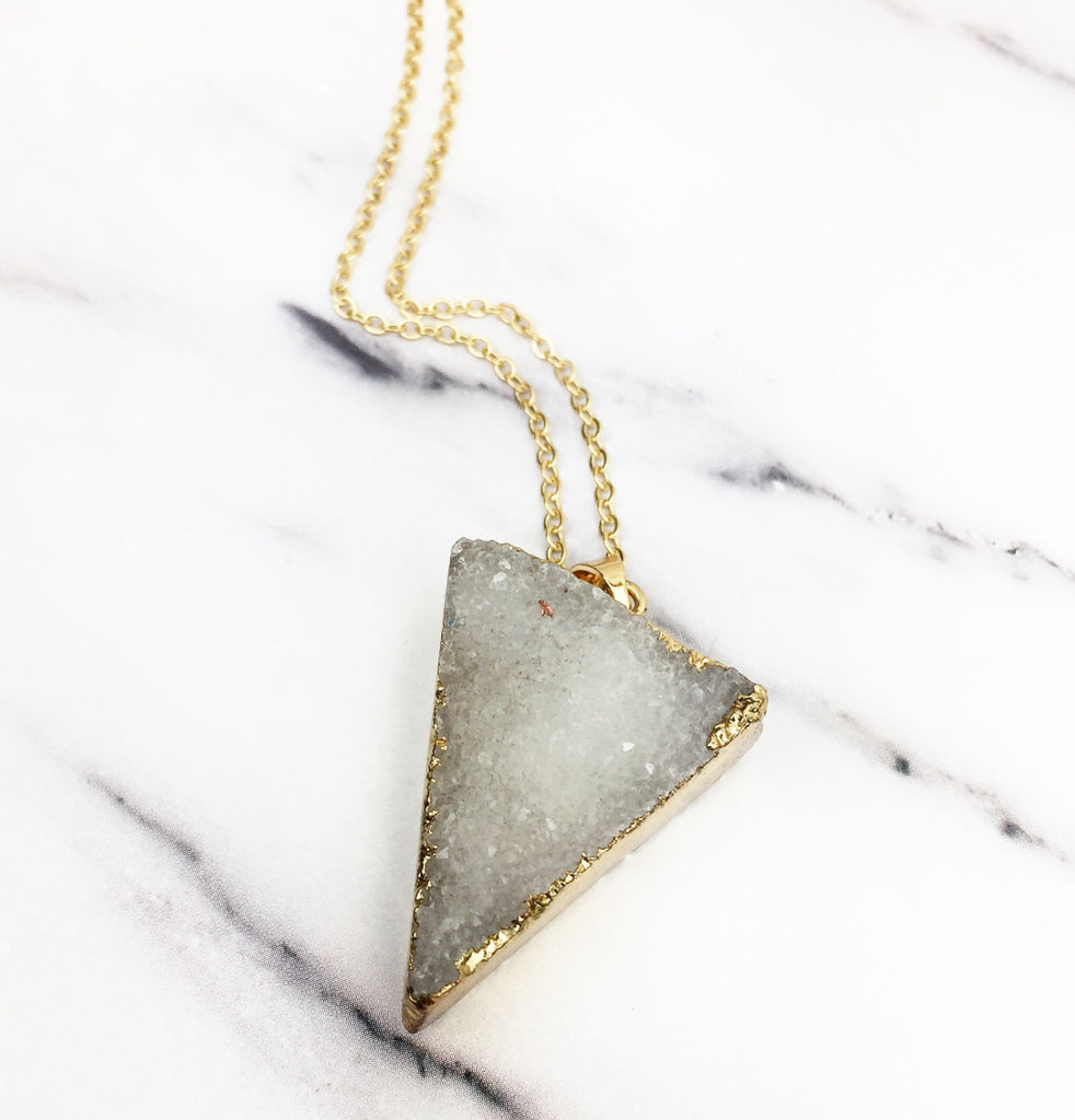White and Gold Druzy Quartz Crystal Triangle Necklace