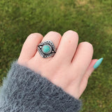 Antiqued Silver Ring with Turquoise Round Gemstone