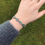 Silver Hamsa and Turquoise Bead Stretch Bracelet