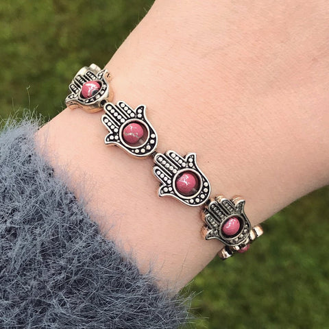 Silver Hamsa and Pink Bead Stretch Bracelet