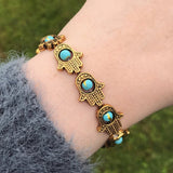Gold Hamsa and Turquoise Bead Stretch Bracelet