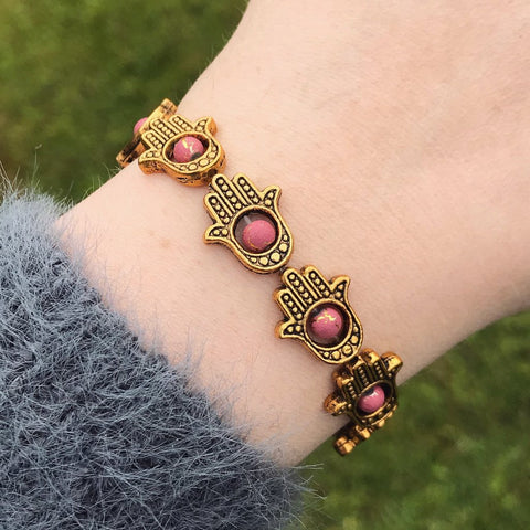 Gold Hamsa and Pink Bead Stretch Bracelet