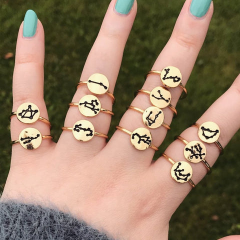 Gold Zodiac Constellation Ring [12 Options]