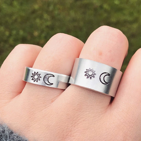 Silver Sun and Moon Ring [Thick / Thin Options]