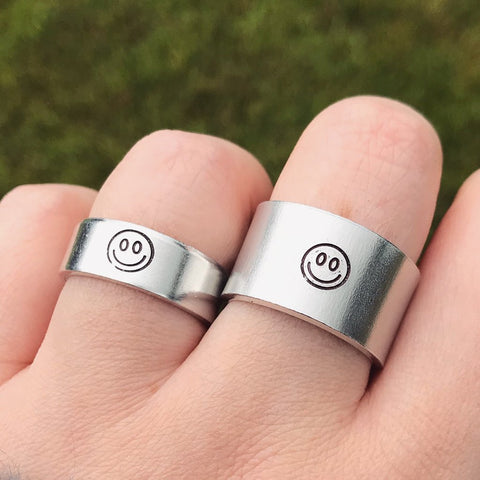 Silver Smiley Face Ring [Thick / Thin Options]