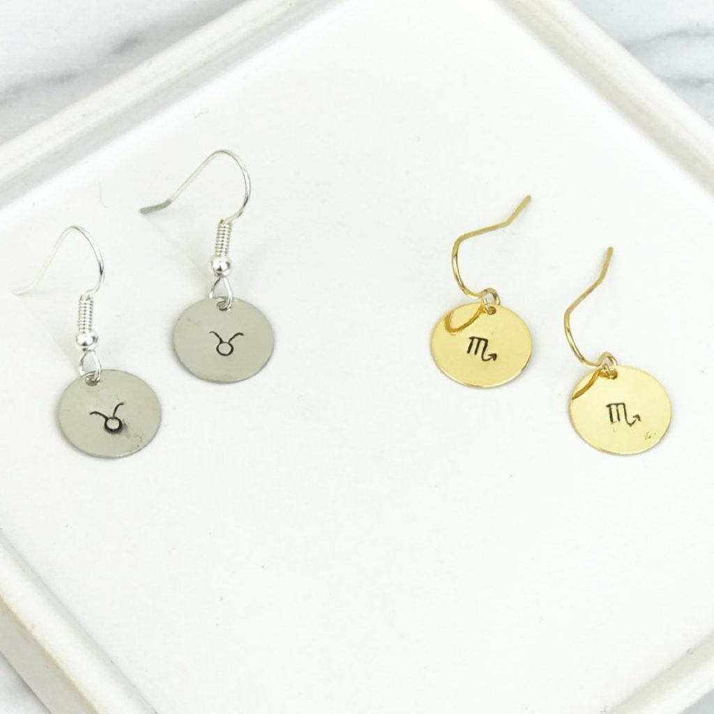 Zodiac Drop Earrings [12 Options] [Gold / Silver]